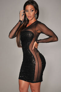 All-Over Sequined Sheer Long Sleeves Bodycon Club Dress