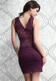 Allover Lace Strappy Fitted Cup Bodycon Dress Purple