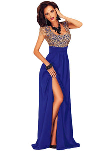 Amazing Gold Lace Overlay Blue Slit Maxi Evening Gown