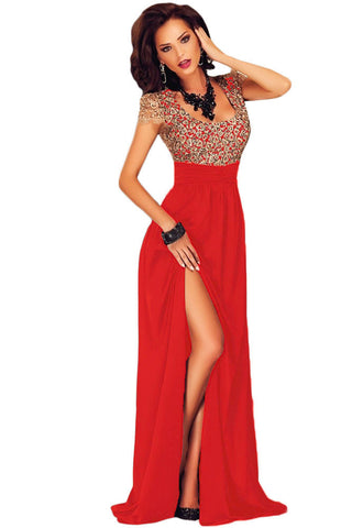 Amazing Gold Lace Overlay Red Slit Maxi Evening Gown