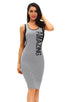 Amazing Graphic Print Grey Midi Dress