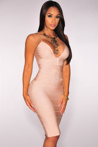 Apricot Crisscross Bandage Dress