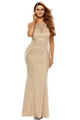 Apricot Lace Insert Evening Dress