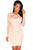 Apricot Lace Nude Illusion Long Sleeves Bodycon Dress