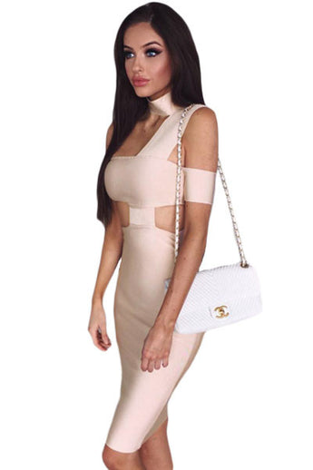 Apricot Sexy Choker Neck Cut out Bandage Party Dress