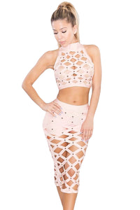 Apricot Slaver Lattice Hollow-out 3pcs Bandage Skirt Set