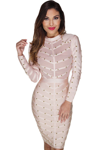 Apricot Studded Mesh Bandage Dress