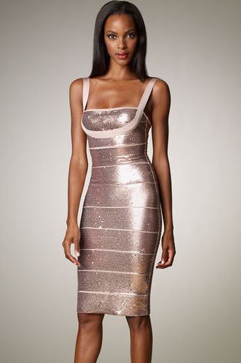 Apricot Twinkling Sequin Bandage Dress