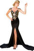 Aristocratic Flowery Paillette Accent Evening Gown