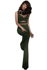 Army Green Cross Front Crop Top and Pocket Pant Set