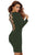 Army Green Lace Up Back Long Sleeve Bodycon Mini Dress