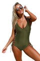 Army Green Plunging V Neck Grommet Lace up One-piece Swimwear