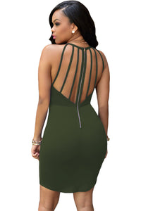 Army Green Strap Back Hollow-out Dress