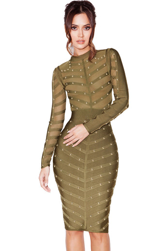 Army Green Studded Mesh Bandage Dress