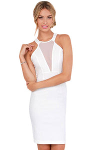 Around We Go White Cutout Halter Dress