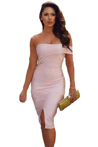 Asymmetric Off Shoulder Short Sleeve Party Bandage Dress