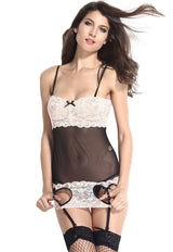Attacthed Garter Black Pink Lace Valentine Chemise