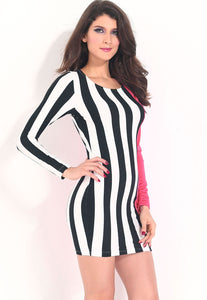 Attention-getting Stripes and Solid Bodycon Dress