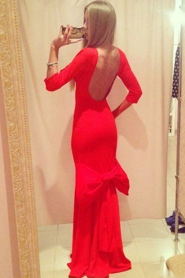 Backless Big Bow Accent Evening Dress