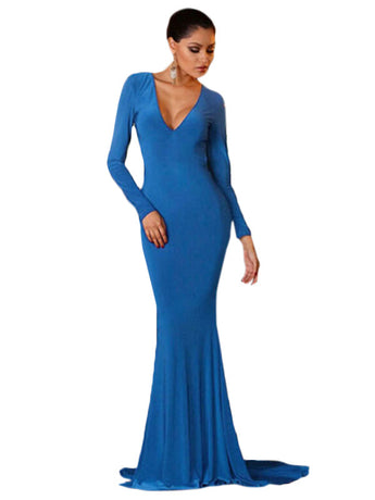 Backless Long Sleeves Mermaid Blue Evening Gown