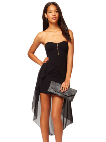 Bandeau Dress with Asymmetric Hem