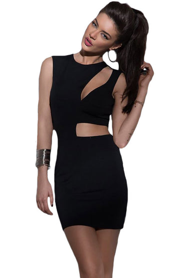 Black Asymmetric Cutout Sexy Mini Club Dress