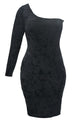 Black Asymmetric One Sleeve Suede Bodycon Dress