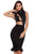 Black Bandage Pencil Dress with Fluted Hem