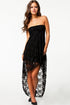 Black Bandeau Lace Evening Dress
