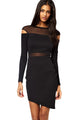 Black Bias Skirt Mesh Spliced Bodycon Dress