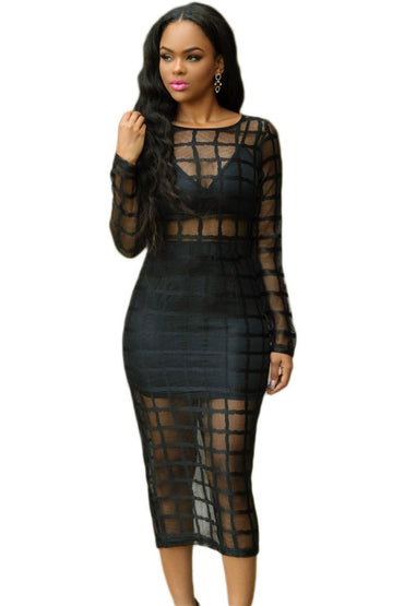 Black Caged Mesh Long Sleeve Night Club Dress