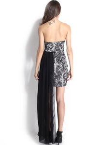 Black Chiffon Hem Attached Strapless Vintage Dress