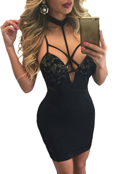 Black Choker Neck Strappy Cutout Lace Paneled Dress