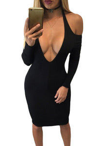 Black Cold Shoulder Long Sleeve Plunge Halter Dress