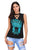 Black Crisscross V Neck Printed Sleeveless Choker Tank Tops