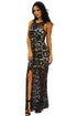 Black Crochet Lace Nude Slit Front Maxi Dress