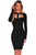 Black Cut Out Long Sleeves Bandage Dress