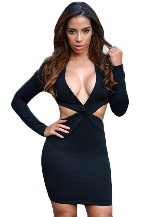 06fb616635e Black Cut Out Twisted Front Long Sleeve Club Dress – SEXY AFFORDABLE ...