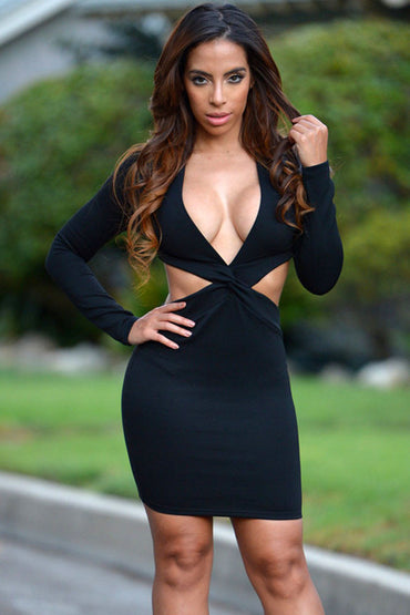 Black Cut Out Twisted Front Long Sleeve Club Dress