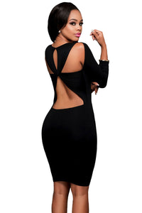 Black Cut out Back Long Sleeves Bodycon Dress