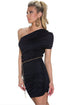 Black Cut-out One-shoulder Plicated Bodycon Dress