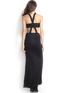 Black Cutout Evening Dress with Sequin Chest Wrap