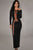 Black Daring Mesh Accents Long Sleeves Evening Dress