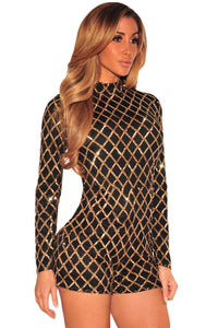 Black Diamond Sequins Long Sleeves Romper