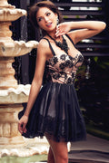 Black Embroidered Sheer Mesh Nude Illusion Party Dress