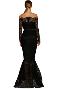 Black Eyelash Lace Off Shoulder Long Sleeve Mermaid Dress