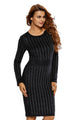 Black Faux Suede Rhinestone Front Long Sleeves Dress