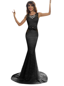 Black Floral Lace Front Bow Accent Maxi Evening Dress