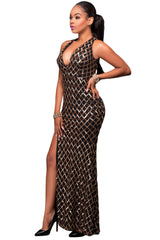 Black Gold Diamond Sequins Key-hole Back Slit Gown