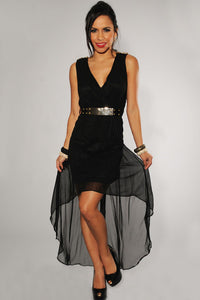 Black Gold Spikes Belted High-Low Dress